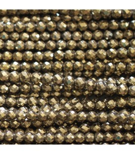 Hematite aged gold 3 mm round faceted bead