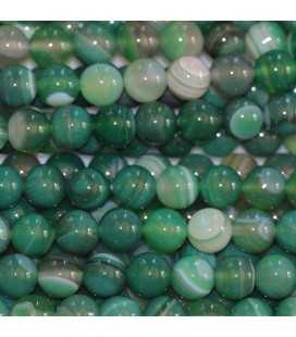 BeauMonde Jewelry - Agate 8 mm round veined green bead