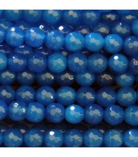BeauMonde Jewelry - Agate 6 mm oil blue round faceted bead