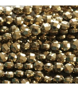 Hematite '4 mm golden faceted medallion