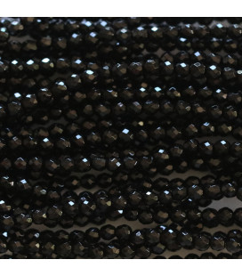 BeauMonde Jewelry - Agate black 2 mm round faceted bead