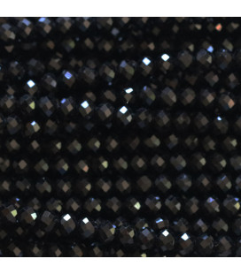 Agate black 3 mm round faceted bead