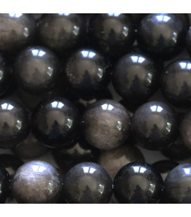 Obsidian silver 10 mm round bead Mexico