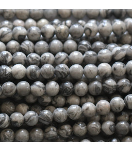 Jasper grey 4 mm round bead
