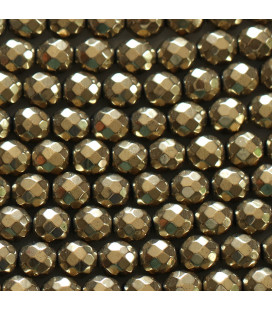 Hematite golden 6 mm round faceted