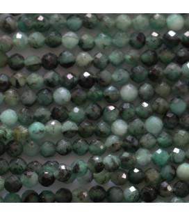 Emerald 3 mm round faceted bead dark tone Brazil
