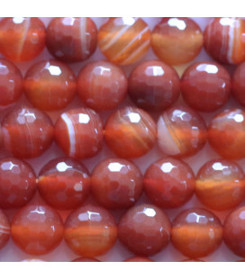 BeauMonde Jewelry - Agate 8 mm red veined round faceted bead