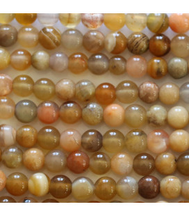 Agate 4 mm round yellow bead Botswana