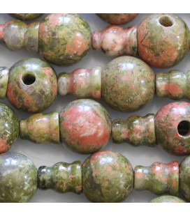Unakite 10 mm ronde 3 trous + embout
