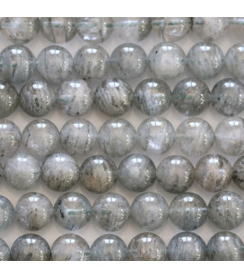 Grey crystal 6 mm round bead inclusions