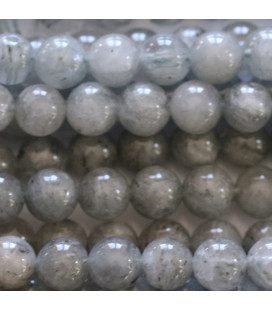 Cristal gris 8 mm perle ronde inclusions