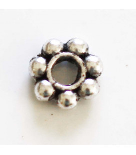 Beaded washer 4 mm silver metal