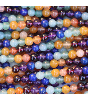 BeauMonde Bijoux - Multi pierres 4 mm perle ronde 7 chakras pierres naturelles