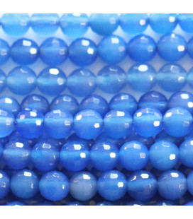 Agate 6 mm round faceted blue bead