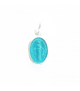 Medal 6x10mm oval blank enamel turquoise with ring