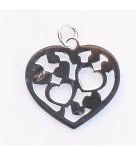 Pendant 16x17 mm multi heart with ring