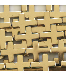 BeauMonde Jewelry - Hematite 14x18 mm golden cross
