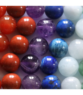 BeauMonde Jewelry - Multi stones 1 0mm round bead 7 chakras natural stones