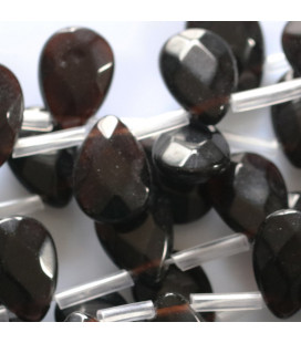 BeauMonde Jewelry - Black agate 10x14 mm flat faceted drop