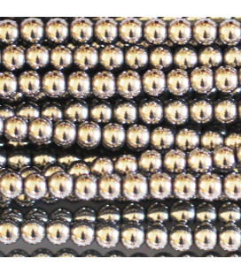Silver hematite 3 mm round bead, hole of about 1.5 mm