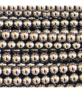 BeauMonde Jewelry - Silver hematite 4 / 4.4 mm round bead, hole of about 1.5 mm
