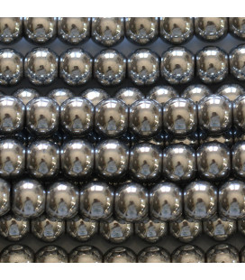 BeauMonde Jewelry - Silver hematite 6 / 6.5 mm round bead, hole of about 2.5 mm