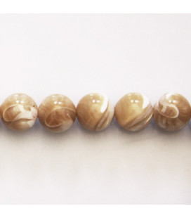 Beige mother-of-pearl 10 mm round bead