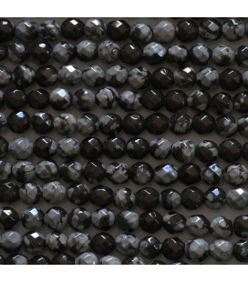 Snow obsidian 3 mm faceted round bead
