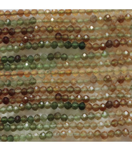 Tourmaline yellow / green round faceted bead 2.5 mm