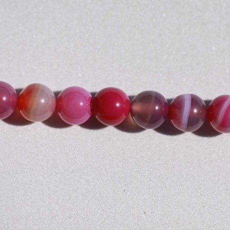 Agate rayée rose perle ronde 8 mm