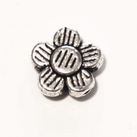 Silver metal ribbed flower spacer 8 mm