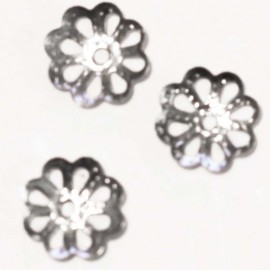Cup thin flower metal silver 7 mm