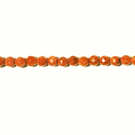 BeauMonde Jewelry - Gold sand stone faceted bead 4 mm
