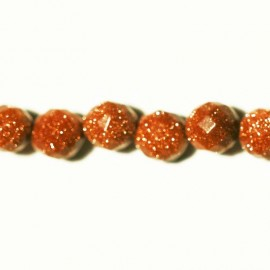 BeauMonde Jewelry - Gold sand stone faceted bead 8 mm