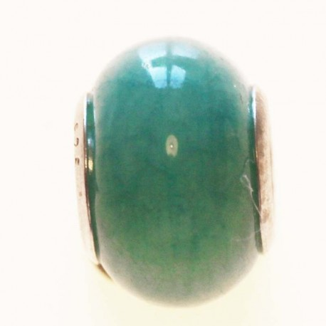 BeauMonde Jewelry - Glass bead large hole silver 925 plain turquoise