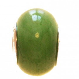 Glass bead large hole silver 925 green