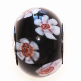 BeauMonde Jewelry - Glass bead large hole silver 925 black flower