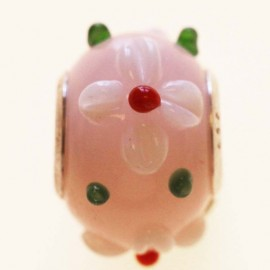 Glass bead large hole silver 925 rose flower relief