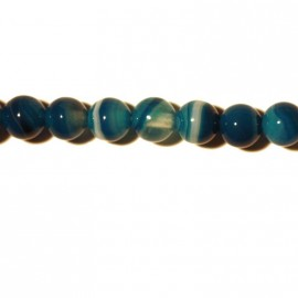 Agate round bead 6 mm blue veined