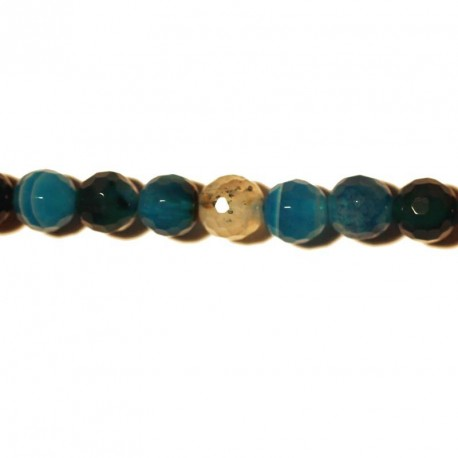 BeauMonde Jewelry - Agate bead faceted blue veined 6 mm