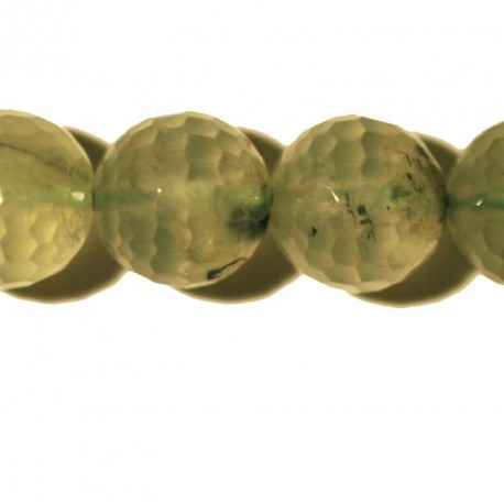 BeauMonde Jewelry - Prehnite faceted round bead 14 mm
