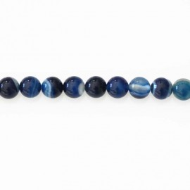 Agate 8/8.5 mm bead blue striped
