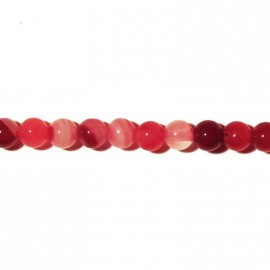 BeauMonde Jewelry - Agate round bead 6 mm fushia veined