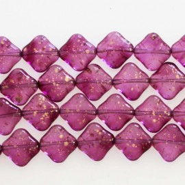 Bohemian glass bead 10 mm mini square fuchsia glitter