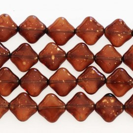 BeauMonde Jewelry - Bohemian glass bead 10 mm mini square topaz glitter