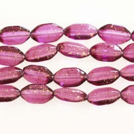 Bohemian glass bead 10 x 18 mm mini oval fuchsia glitter