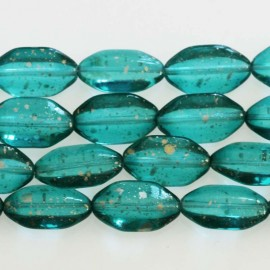 BeauMonde Jewelry - Bohemian glass bead 10 x 18 mm mini oval turquoise glitter
