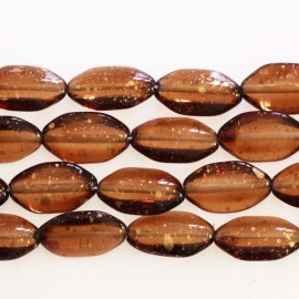 BeauMonde Jewelry - Bohemian glass bead 10 x 18 mm mini oval topaz glitter