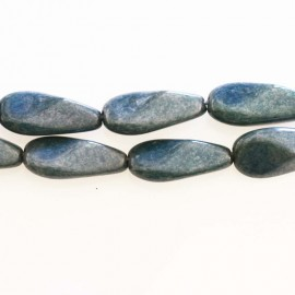 Oval twisted blue Bohemian glass 20 x 10 mm