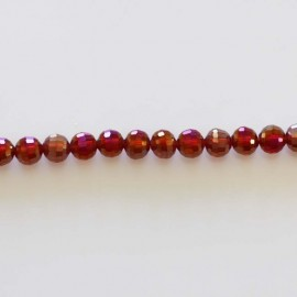 BeauMonde Jewelry - Glass beads faceted red siam AB 8 mm